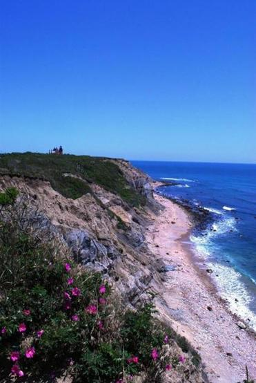 The South East Light on Mohegan Bluffs on Block Island.